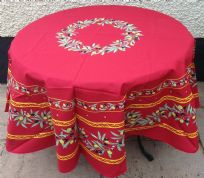 Olives Blossom Tablecloth Round 180cm Red Coated